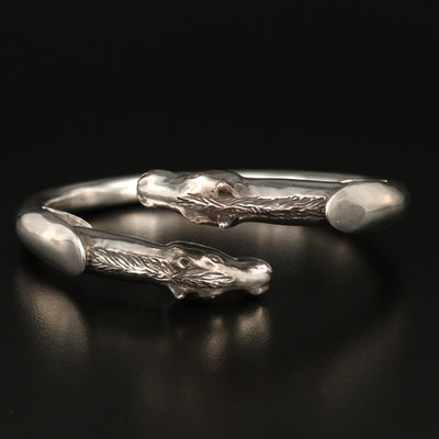 Laurent Léger 950 Silver Double Horse Head Bypass Bangle