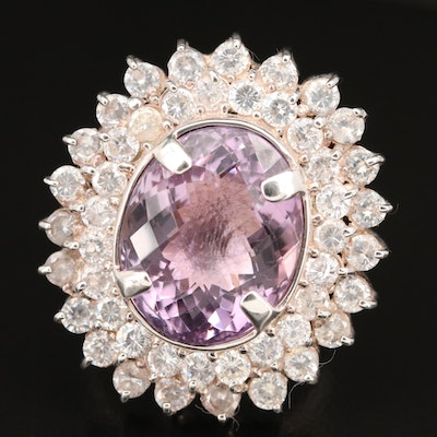Laurent Léger 950 Silver Amethyst and Cubic Zircona Double Halo Ring