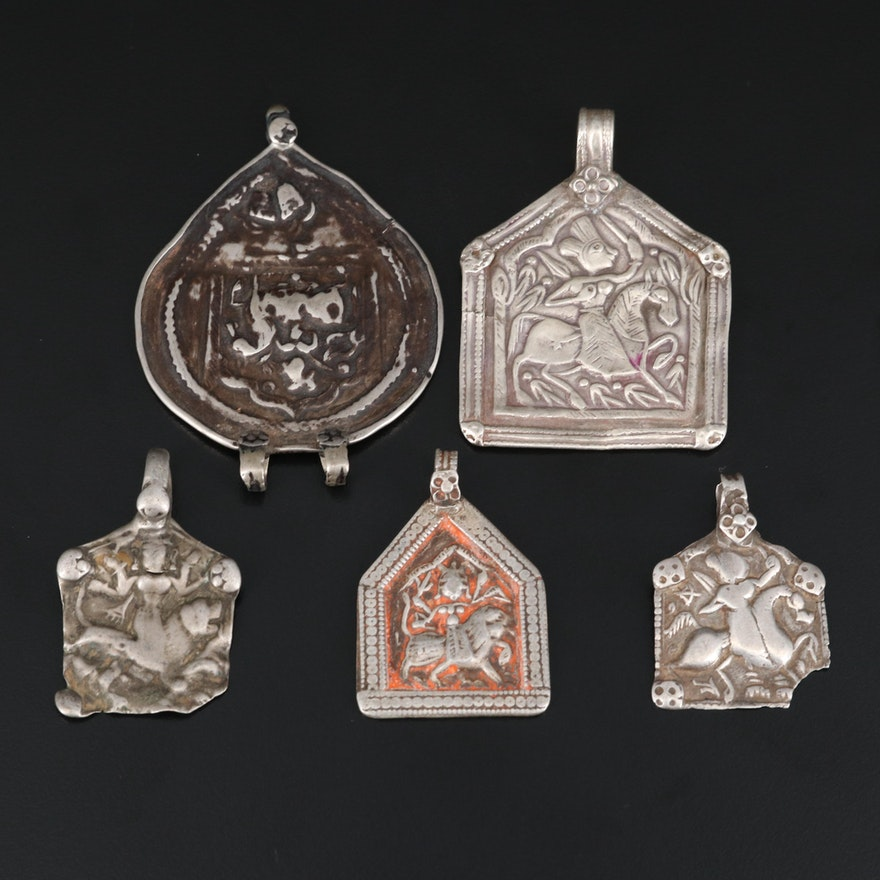 Rajasthani Indian Amulet Pendants with Goddess Durga and Sterling Silver