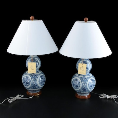 Pair of Ralph Lauren Blue and White Double Gourd Ceramic Table Lamps