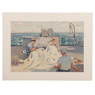 "Edmond J. Fitzgerald Watercolor Painting ""Board Ship WWII,"" 1945"