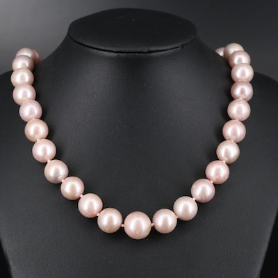 Hand Knotted Pearl Necklace with Sterling Clasp