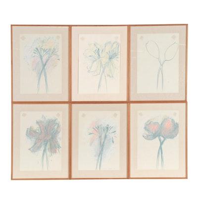 """Robert Janz Oil Pastel Hexaptych """"P.M.'s Tulips,"""" 1984"""