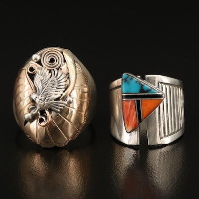 Sterling Rings Featuring Turquoise Inlay and Appliqué Accents