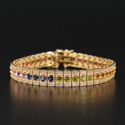 Sterling Sapphire Rainbow Link Bracelet