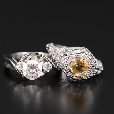 Sterling Silver Moissanite and Citrine Rings