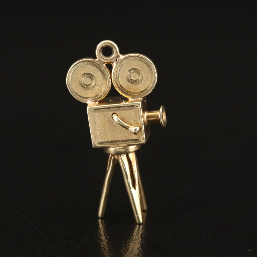 14K Movie Projector on Tripod Articulating Charm Pendant