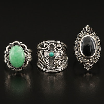 Sterling Silver Ring Selection Featuring Black Onyx and Gemstone Accents