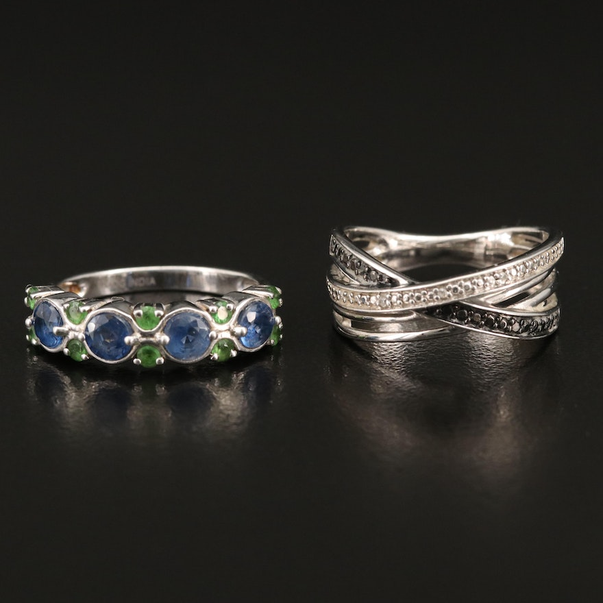Sterling Silver Diamond Crossover Band with Kyanite and Diopside Band