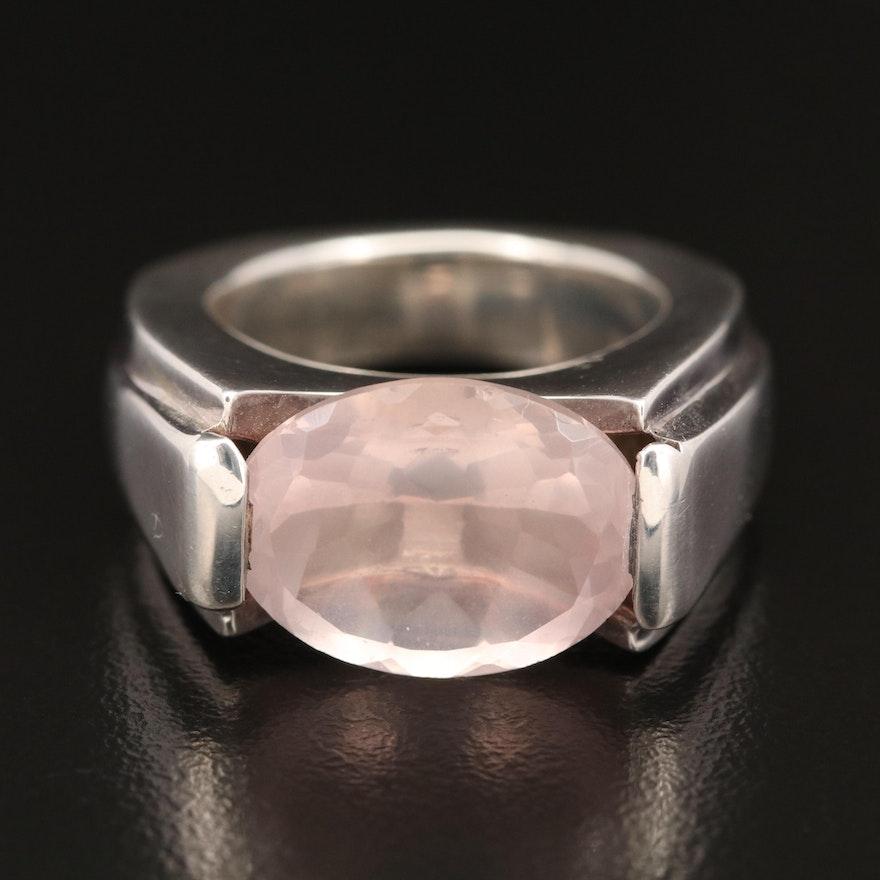 Laurent Leger  950 Silver Rose Quartz Ring