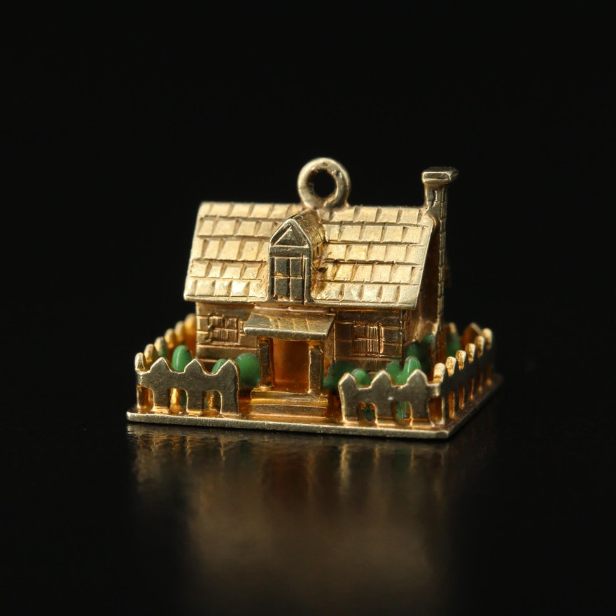 14K Enamel House Charm