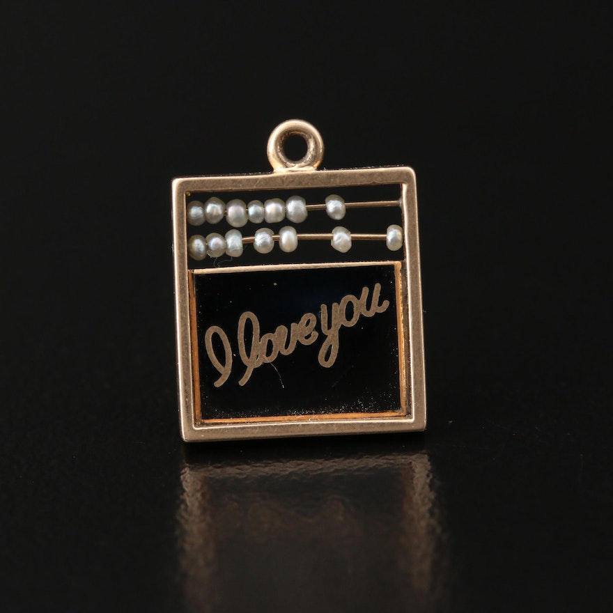 14K Seed Pearl and Enamel Love Abacus Charm