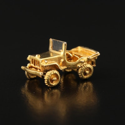 10K Glass Car Charm with Articulating Wheels