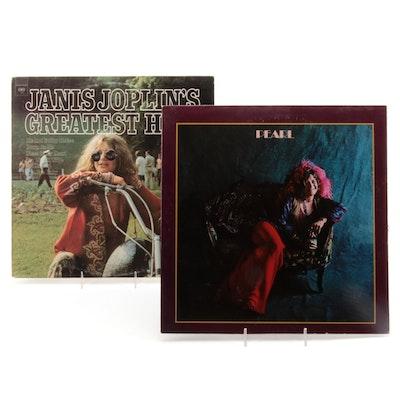 "Janis Joplin ""Pearl"" and ""Greatest Hits"" Vinyl Records"