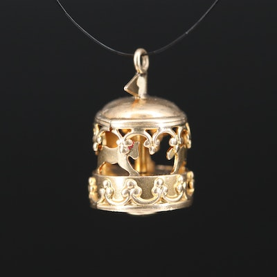 14K Articulated Carousel Pendant with Enamel Accents