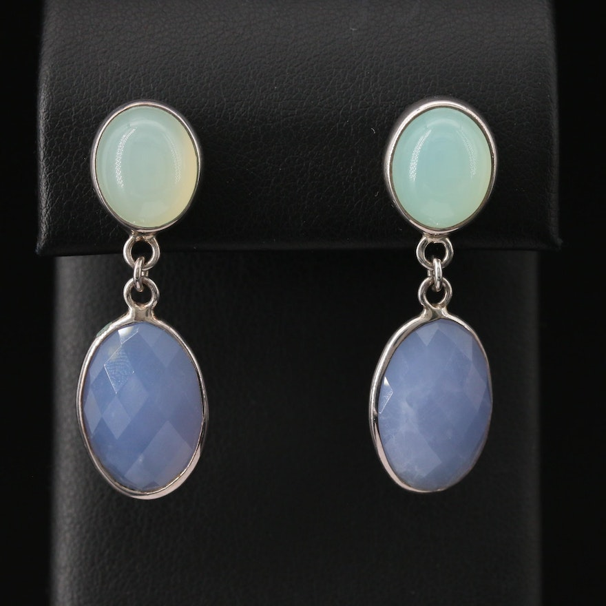 Laurent Léger 950 Silver Prehnite and Chalcedony Drop Earrings