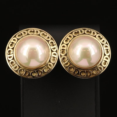 Christian Dior Faux Pearl Logo Clip Earrings