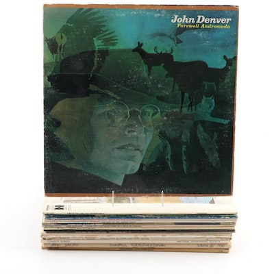 Johnny Cash, John Denver, Merle Haggard, and Other LP Vinyl Records, Mid-20th C.