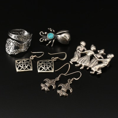 Sterling Jewelry Including Spoon Ring, Insect Brooch and Fluer-de-lis Earrings