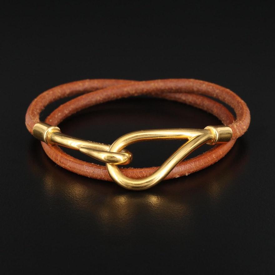 Hermès Leather Double Wrap Jumbo Hook Bracelet