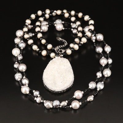 Sterling Pearl and Glass Necklaces Including Druzy Enhancer Pendant