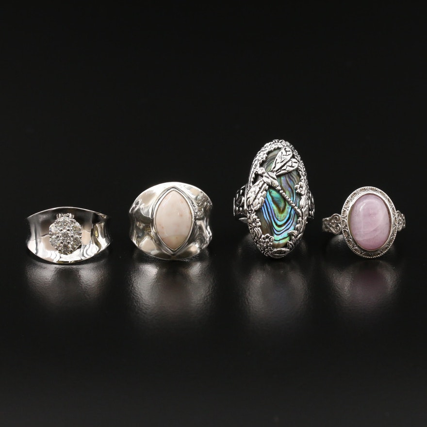Sterling Silver Moissanite, Agate and Abalone
