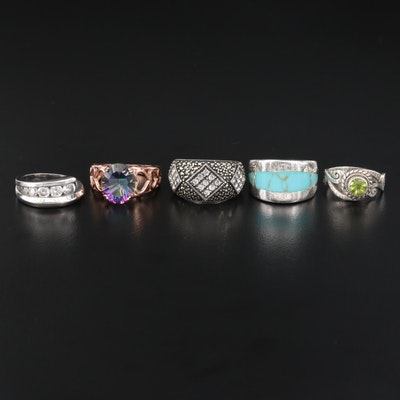 Sterling Rings Including Peridot, Mystic Topaz and Marcasite