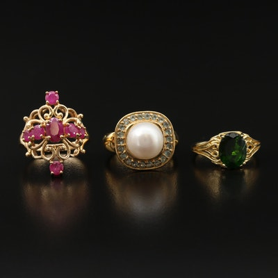 Sterling Silver Pearl, ruby and Diopside Rings