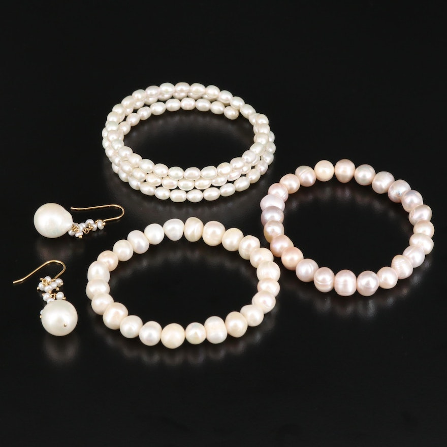 Pearl Bracelets and Earrings