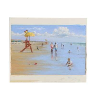 Marcus Brewer Oil Pastel Drawing of Summer Beach Scene