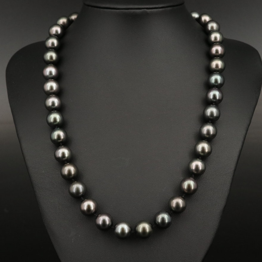 Knotted Pearl Necklace with 14K Clasp and GIA Report