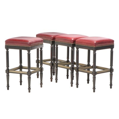 """Four Frontgate """"Raffles"""" Ebonized Maple and Brass-Tacked Leather Bar Stools"""