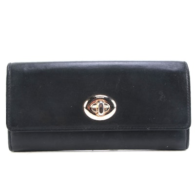Coach Turnlock Envelope Wallet with Zipper Pocket in Black Leather