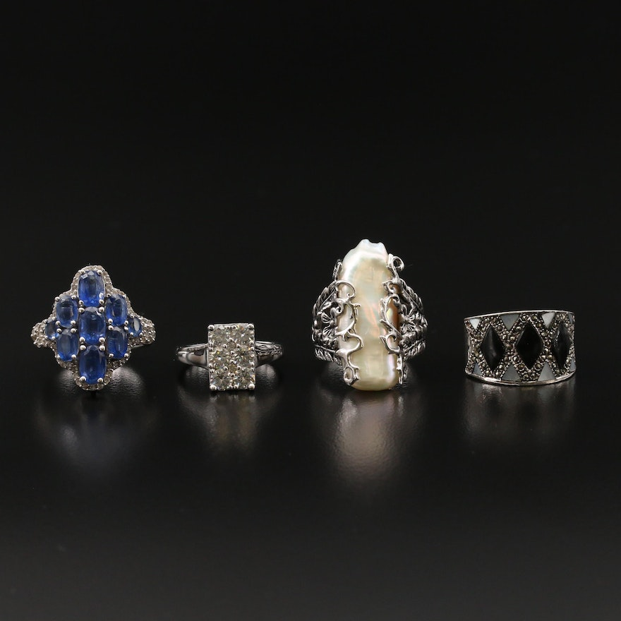 Sterling Silver Moissanite, Kyanite and Pearl Rings