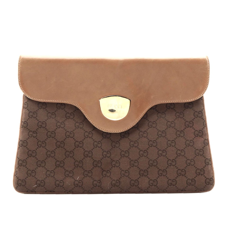 Gucci Hinge Clutch in Dark Brown GG Canvas with Leather Trim