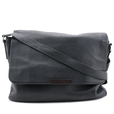 Marc by Marc Jacobs Black Full-Grained Leather Messenger Bag