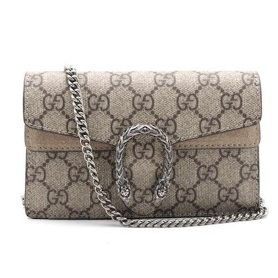 Gucci Super Mini Dionysus Bag in GG Supreme Canvas and Suede