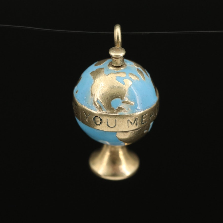 "14K Enamel ""You Mean The World To Me"" Articulated Globe Charm"