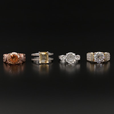 Sterling Silver Citrine, Sapphire and Cubic Zirconia Rings