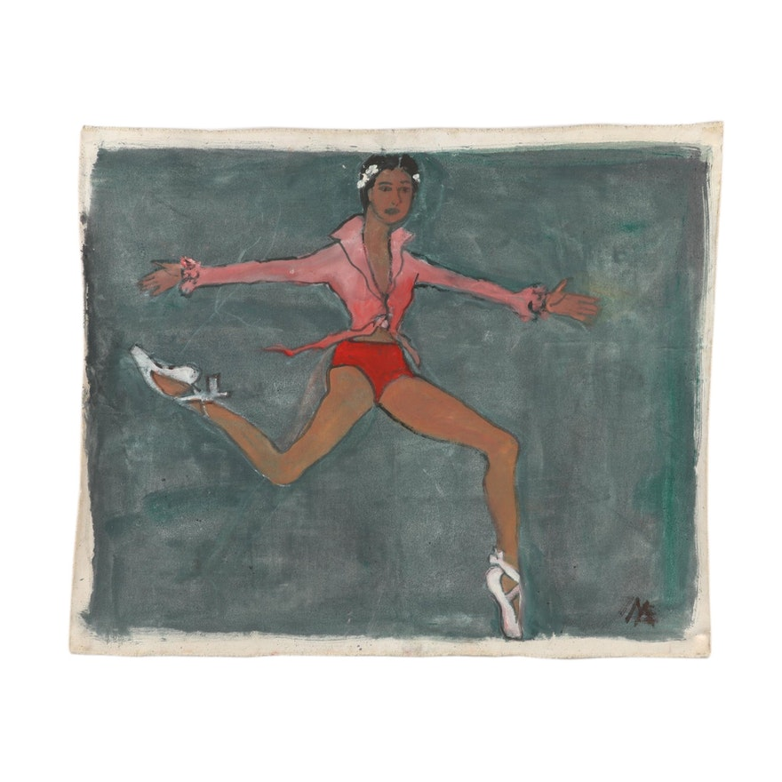 Mae Alice Engron Oil Painting of Ballet Dancer