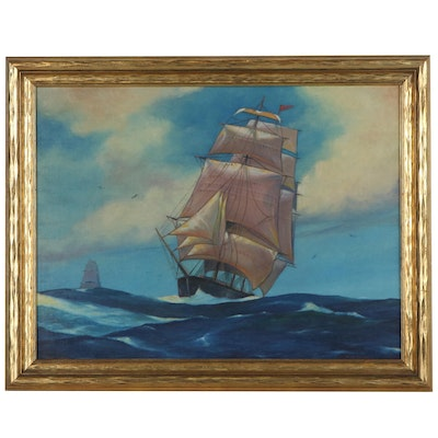 Nautical Oil Painting of Ships, Mid to Late 20th Century