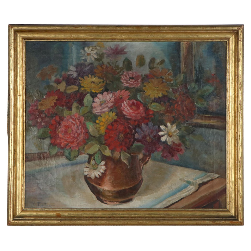 Forster Floral Still Life Oil Painting, Mid-20th Century