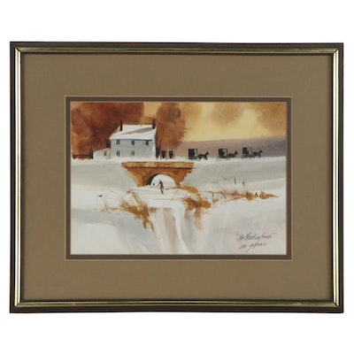 "Ed Gifford Watercolor Painting ""The Meeting House,"" Late 20th Century"