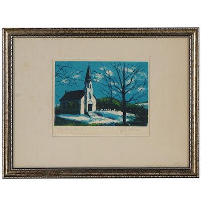 """Lithograph """"Oak Grove Church,"""" Late 20th Century"""