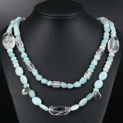 Pearl and Gemstone Double Strand Necklace with Sterling Clasp