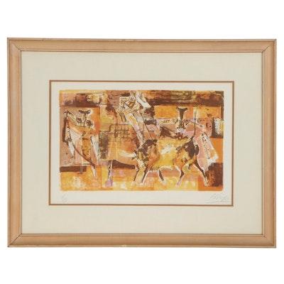 "Orlando Pelayo Lithograph ""Bullfight,"" Late 20th Century"