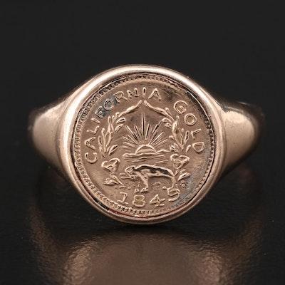 Antique 9K California Coin Ring