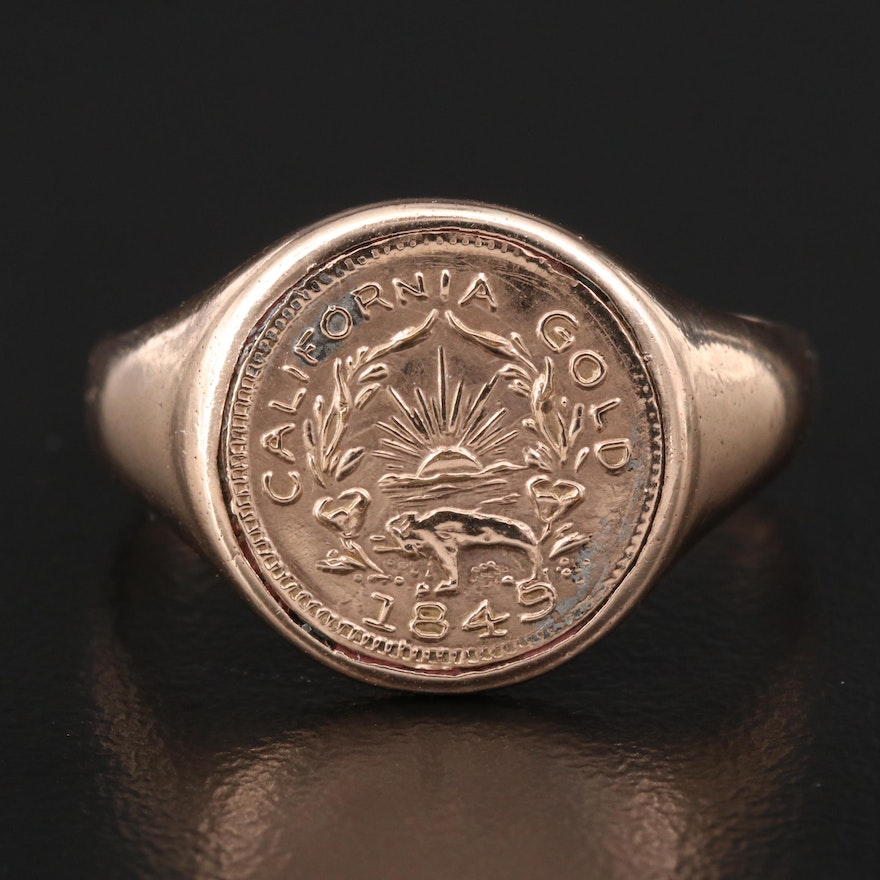 Antique 9K California Coin Ring