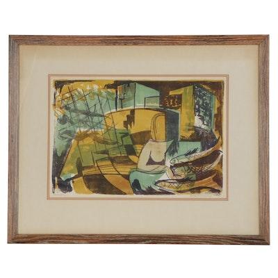 "Oskar Matulla Lithograph ""In the Port,"" Late 20th Century"