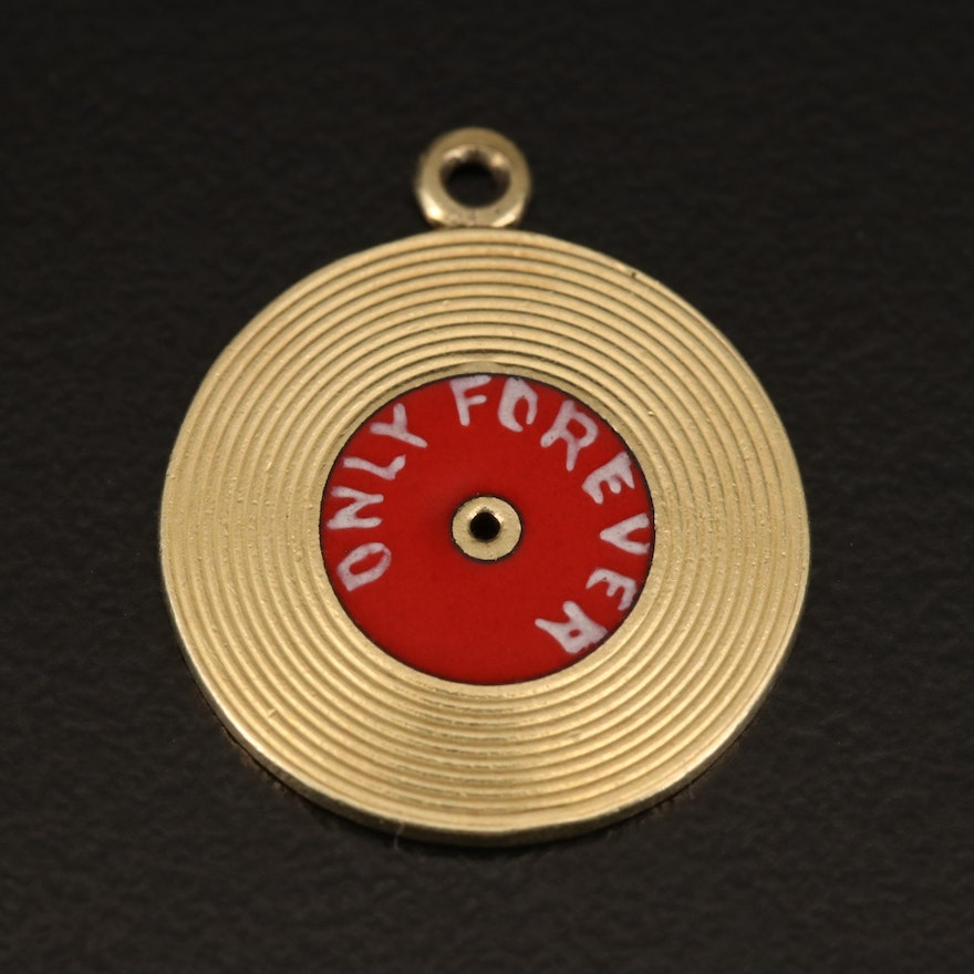 "14K Enamel Vinyl Record Charm Pendant with ""One Look at You"" and ""Only Forever"""